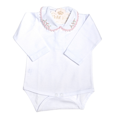 Body bebê flores - Branco e rosa