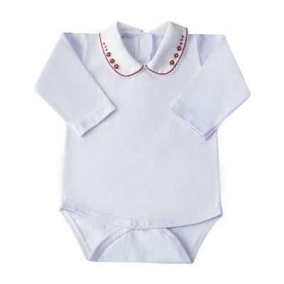Body bebê flores e pérolas - Branco e vermelho