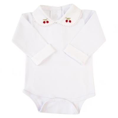 Body bebê gola cerejinha com punhos - Branco