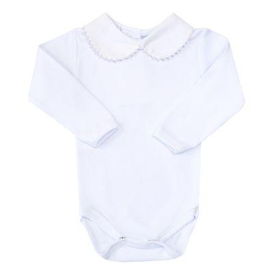 Body bebê gola com pérolas - Branco