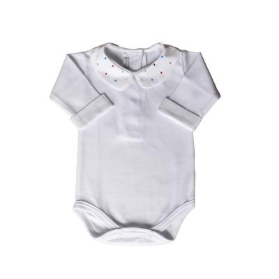 Body bebê gola com poás  coloridos e punhos - Branco