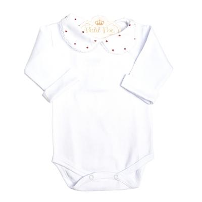 Body bebê gola com poás e punhos - Branco e vermelho