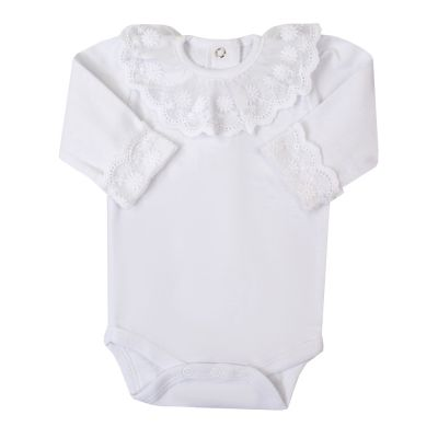 Body bebê gola e punho renda - Branco