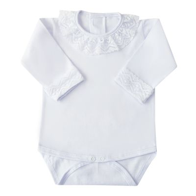 Body bebê gola e punhos em renda - Branco