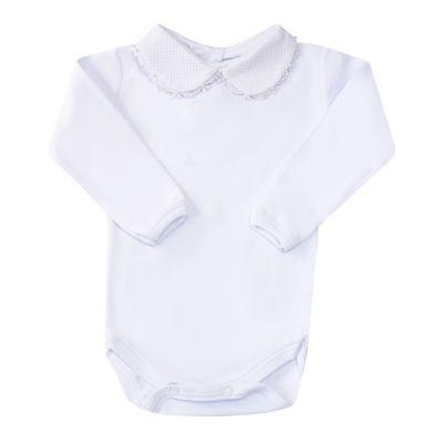 Body bebê gola em piquet com pérolas - Branco