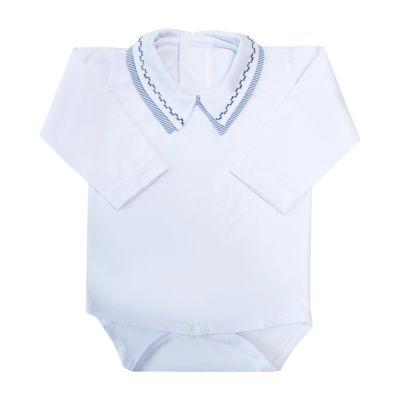 Body bebê gola listras e quadradinho - Branco e azul marinho