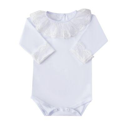Body bebê gola off em tule bordado flor imperial - Branco