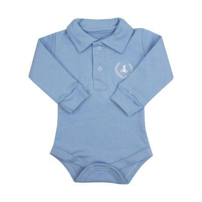 Body bebê gola polo - Azul bebê