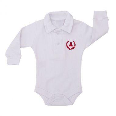 Body bebê gola polo - Branco