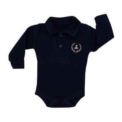 Body bebê gola polo manga longa - Azul marinho