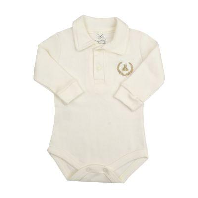 Body bebê gola polo manga longa - Off white