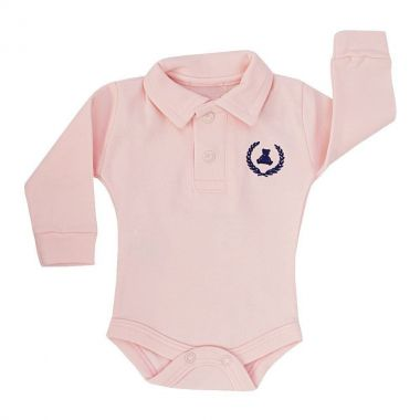 Body bebê gola polo manga longa - Rosa bebê