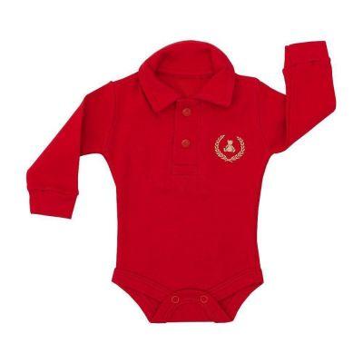 Body bebê gola polo manga longa - Vermelho