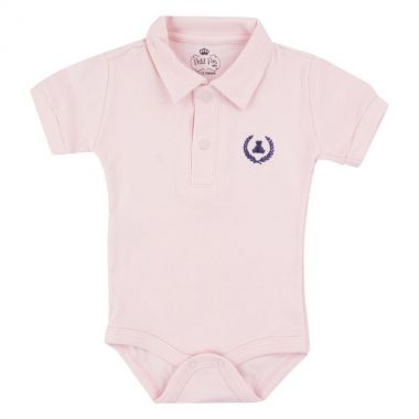 Body bebê gola polo - Rosa bebê