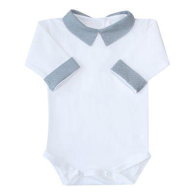 Body bebê gola quadradinho - Off white e grafite
