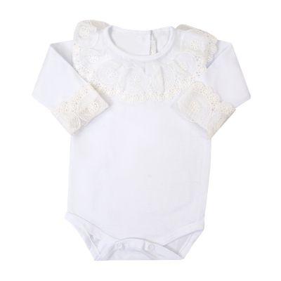 Body bebê gola rendada - Branco