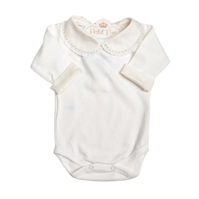Body bebê gola rendinha com punhos - Natural