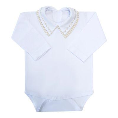 Body bebê gola xadrez e quadradinho - Branco e rolex