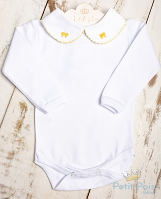 Body bebê lacinho - Branco e amarelo