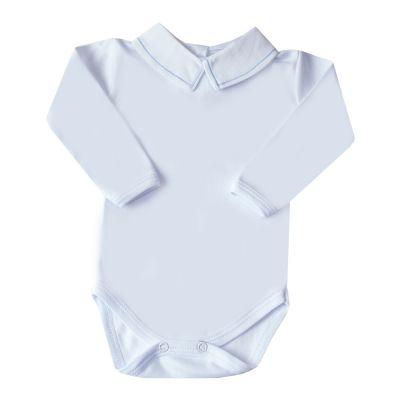 Body bebê linha - Branco e azul bebê