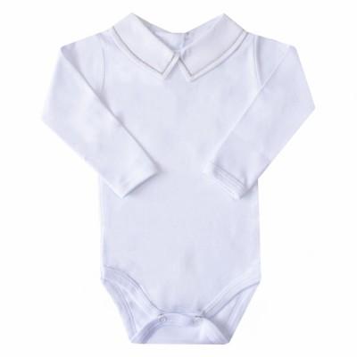 Body bebê linha - Branco e cinza
