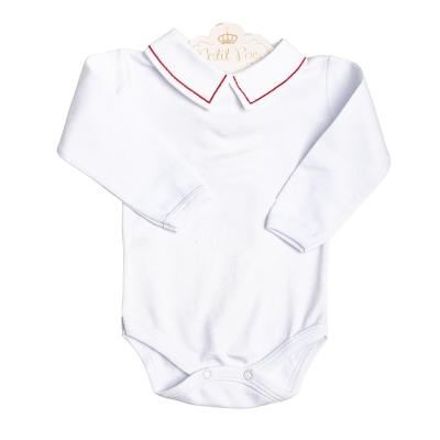 Body bebê linha - Branco e vermelho