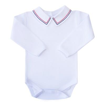 Body bebê linha dupla - Branco, azul marinho e vermelho
