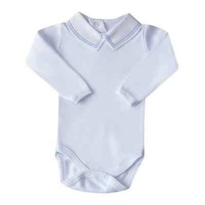 Body bebê linha dupla - Branco e azul bebê