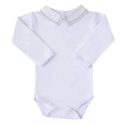 Body bebê linha dupla - Branco e cinza