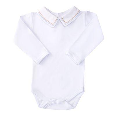 Body bebê linha dupla - Branco, rolex e azul bebê