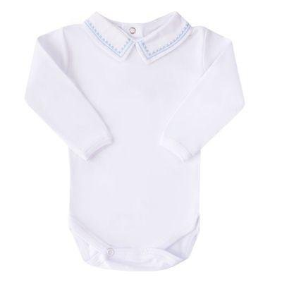 Body bebê linha e quadradinho - Branco e azul bebê