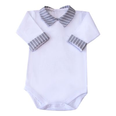 Body bebê listras - Branco e grafite