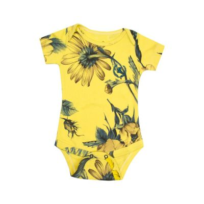 Body bebê manga curta floral - Amarelo