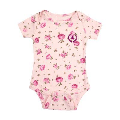 Body bebê manga curta floral - Rosa bebê