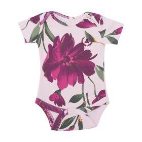 Body bebê manga curta floral - Rosa bebê e marsala