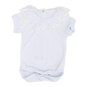 Body bebê manga curta gola de renda bordada com pérolas - Branco
