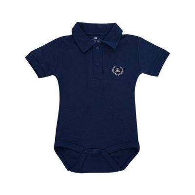 Body bebê manga curta gola polo - Azul marinho