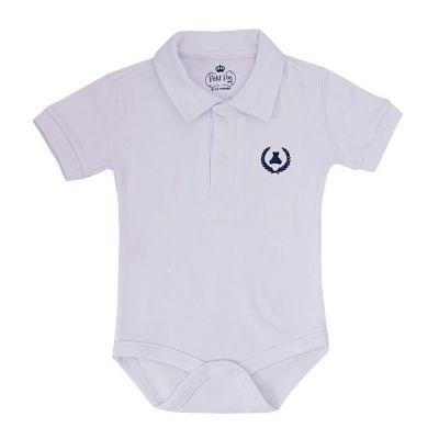 Body bebê manga curta gola polo - Branco