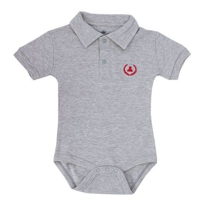 Body bebê manga curta gola polo - Cinza