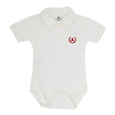 Body bebê manga curta gola polo - Off white