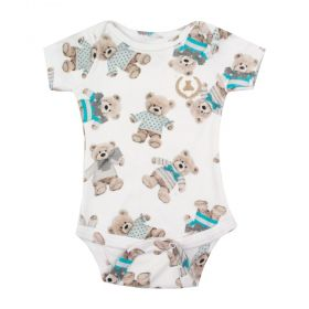 Body bebê manga curta ursinho - Branco e tiffany