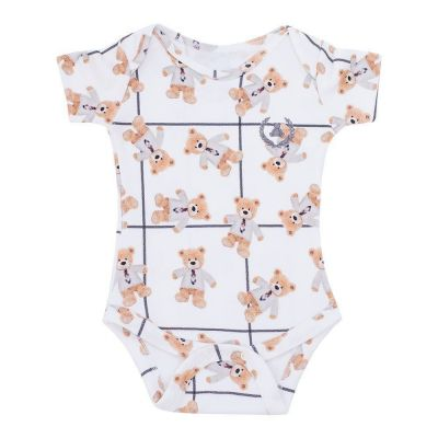 Body bebê manga curta ursinho com gravata - Off white
