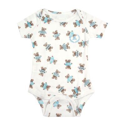 Body bebê manga curta ursinhos - Branco e azul