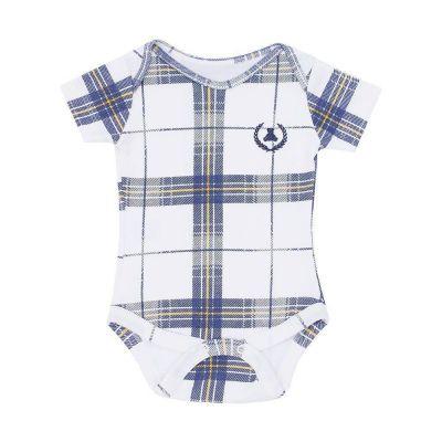Body bebê manga curta xadrez - Off white e azul marinho