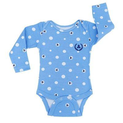 Body bebê manga longa braquinhos - Azul bebê