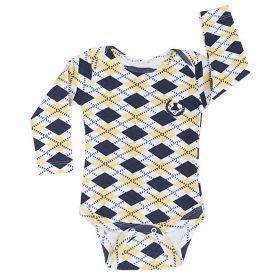 Body bebê manga longa - Azul marinho e amarelo