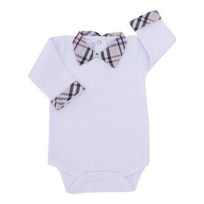 Body bebê manga longa masculino - Branco