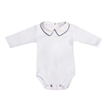 Body bebê manga longa - Branco e jeans