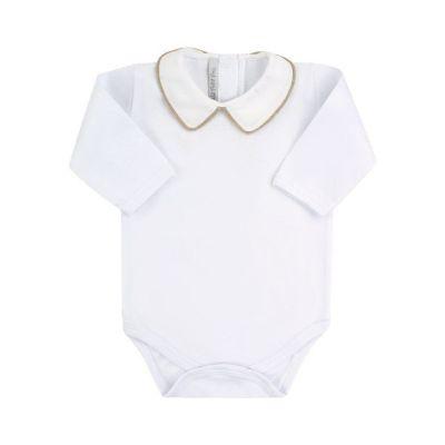 Body bebê manga longa - Branco e rolex