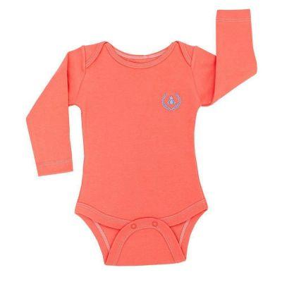 Body bebê manga longa brasão azul - Coral